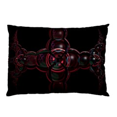 Fractal Red Cross On Black Background Pillow Case by Amaryn4rt
