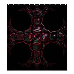 Fractal Red Cross On Black Background Shower Curtain 66  X 72  (large)  by Amaryn4rt