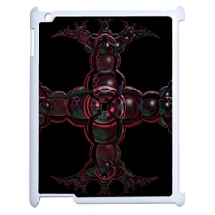 Fractal Red Cross On Black Background Apple Ipad 2 Case (white) by Amaryn4rt
