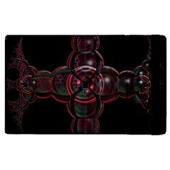Fractal Red Cross On Black Background Apple Ipad 2 Flip Case by Amaryn4rt