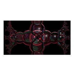 Fractal Red Cross On Black Background Satin Shawl by Amaryn4rt