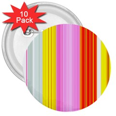 Multi Colored Bright Stripes Striped Background Wallpaper 3  Buttons (10 Pack)  by Amaryn4rt