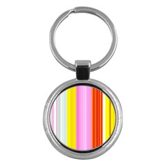 Multi Colored Bright Stripes Striped Background Wallpaper Key Chains (round)  by Amaryn4rt