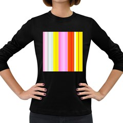 Multi Colored Bright Stripes Striped Background Wallpaper Women s Long Sleeve Dark T Shirts by Amaryn4rt