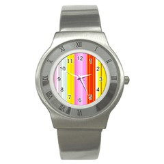 Multi Colored Bright Stripes Striped Background Wallpaper Stainless Steel Watch by Amaryn4rt
