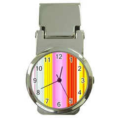 Multi Colored Bright Stripes Striped Background Wallpaper Money Clip Watches by Amaryn4rt