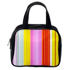 Multi Colored Bright Stripes Striped Background Wallpaper Classic Handbags (one Side) by Amaryn4rt