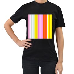 Multi Colored Bright Stripes Striped Background Wallpaper Women s T Shirt (black) by Amaryn4rt