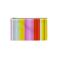 Multi Colored Bright Stripes Striped Background Wallpaper Cosmetic Bag (small)  by Amaryn4rt