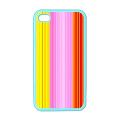 Multi Colored Bright Stripes Striped Background Wallpaper Apple Iphone 4 Case (color) by Amaryn4rt