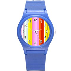Multi Colored Bright Stripes Striped Background Wallpaper Round Plastic Sport Watch (s) by Amaryn4rt