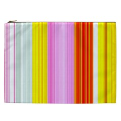 Multi Colored Bright Stripes Striped Background Wallpaper Cosmetic Bag (xxl)  by Amaryn4rt