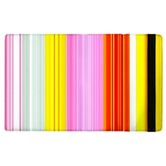Multi Colored Bright Stripes Striped Background Wallpaper Apple Ipad 3/4 Flip Case by Amaryn4rt
