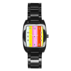 Multi Colored Bright Stripes Striped Background Wallpaper Stainless Steel Barrel Watch by Amaryn4rt
