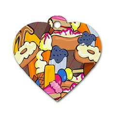 Sweet Stuff Digitally Created Sweet Food Wallpaper Dog Tag Heart (one Side) by Amaryn4rt