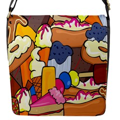 Sweet Stuff Digitally Created Sweet Food Wallpaper Flap Messenger Bag (s) by Amaryn4rt
