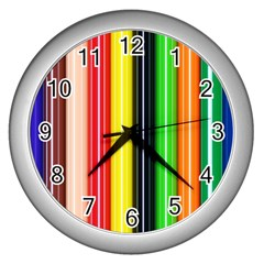 Colorful Striped Background Wallpaper Pattern Wall Clocks (silver)  by Amaryn4rt
