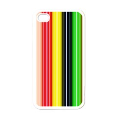 Colorful Striped Background Wallpaper Pattern Apple Iphone 4 Case (white) by Amaryn4rt