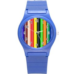 Colorful Striped Background Wallpaper Pattern Round Plastic Sport Watch (s) by Amaryn4rt