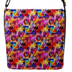 Spring Hearts Bohemian Artwork Flap Messenger Bag (s) by KirstenStar