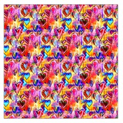 Spring Hearts Bohemian Artwork Large Satin Scarf (square) by KirstenStar