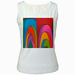 Modern Abstract Colorful Stripes Wallpaper Background Women s White Tank Top