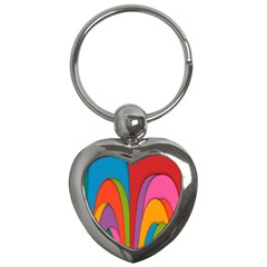 Modern Abstract Colorful Stripes Wallpaper Background Key Chains (heart)  by Amaryn4rt