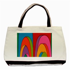Modern Abstract Colorful Stripes Wallpaper Background Basic Tote Bag by Amaryn4rt