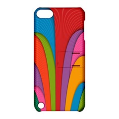 Modern Abstract Colorful Stripes Wallpaper Background Apple Ipod Touch 5 Hardshell Case With Stand by Amaryn4rt