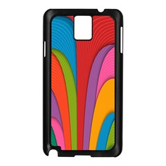 Modern Abstract Colorful Stripes Wallpaper Background Samsung Galaxy Note 3 N9005 Case (black) by Amaryn4rt