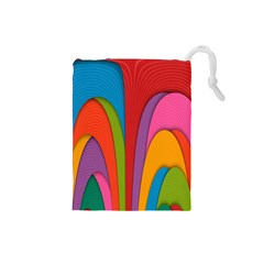 Modern Abstract Colorful Stripes Wallpaper Background Drawstring Pouches (small)  by Amaryn4rt
