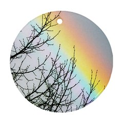 Rainbow Sky Spectrum Rainbow Colors Round Ornament (two Sides) by Amaryn4rt