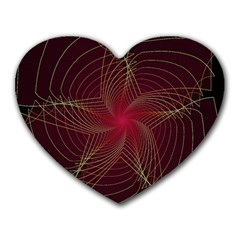 Fractal Red Star Isolated On Black Background Heart Mousepads by Amaryn4rt