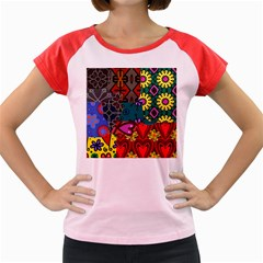 Digitally Created Abstract Patchwork Collage Pattern Women s Cap Sleeve T Shirt