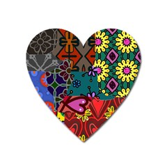 Digitally Created Abstract Patchwork Collage Pattern Heart Magnet by Amaryn4rt
