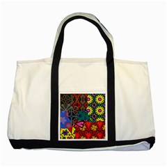 Digitally Created Abstract Patchwork Collage Pattern Two Tone Tote Bag by Amaryn4rt