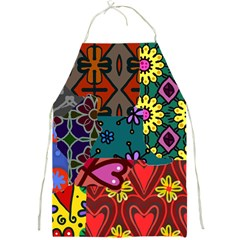 Digitally Created Abstract Patchwork Collage Pattern Full Print Aprons
