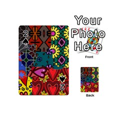 Digitally Created Abstract Patchwork Collage Pattern Playing Cards 54 (mini)  by Amaryn4rt