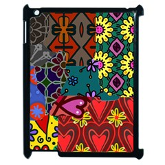 Digitally Created Abstract Patchwork Collage Pattern Apple Ipad 2 Case (black) by Amaryn4rt