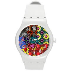 Digitally Created Abstract Patchwork Collage Pattern Round Plastic Sport Watch (m) by Amaryn4rt