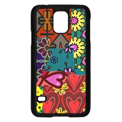 Digitally Created Abstract Patchwork Collage Pattern Samsung Galaxy S5 Case (black) by Amaryn4rt