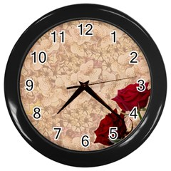 Retro Background Scrapbooking Paper Wall Clocks (black) by Amaryn4rt