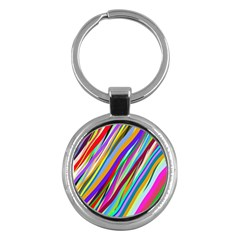 Multi Color Tangled Ribbons Background Wallpaper Key Chains (round)  by Amaryn4rt