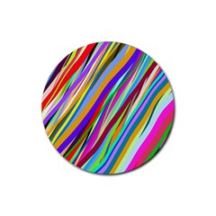 Multi Color Tangled Ribbons Background Wallpaper Rubber Round Coaster (4 Pack)  by Amaryn4rt