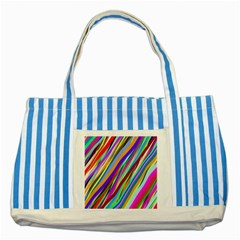 Multi Color Tangled Ribbons Background Wallpaper Striped Blue Tote Bag by Amaryn4rt