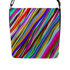 Multi Color Tangled Ribbons Background Wallpaper Flap Messenger Bag (l)  by Amaryn4rt
