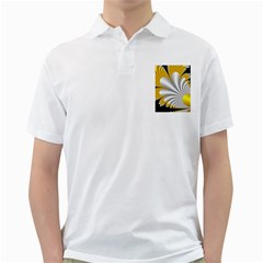 Fractal Gold Palm Tree On Black Background Golf Shirts by Amaryn4rt