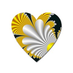 Fractal Gold Palm Tree On Black Background Heart Magnet by Amaryn4rt