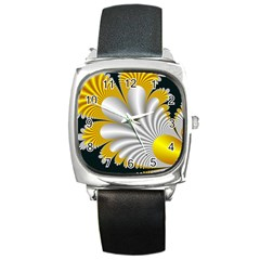 Fractal Gold Palm Tree On Black Background Square Metal Watch by Amaryn4rt