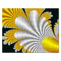 Fractal Gold Palm Tree On Black Background Rectangular Jigsaw Puzzl by Amaryn4rt